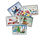 5er Mix-Set Mini-Adventskalender mit Schokolinsen - Der vielleicht kleinste Advents-Kalender der Welt (Bunte Schlittenfahrt, Weihnachtsmann on Tour, Schneemaenner, Schneckenpost, Kuck mal Weihnachten)
