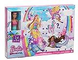 Barbie GYN36 - Dreamtopia Adventskalender: Blonde Barbie-Puppe, 3 Prinzessinnen-Moden, 10 Accessoires und 10 Zubehörteile,darunter 4 Tiere, Adventsgeschenk für Kinder von 3 bis 7 Jahren