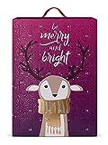 SIX Schmuck-Adventskalender für Frauen Be Merry and Bright mit 24 schicken Überraschungen, Silber und goldfarbener Schmuck, Kalender zum Aufhängen oder Hinstellen (388-352)
