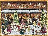 Nostalgischer Adventskalender aus Papier mit Bildern und Glitzer für Kinder und Erwachsene 'Viktorianischer Laden'